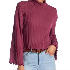Abound Women's Turtleneck Crop Sweater Size L Red